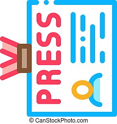 Press Badge Card Icon Vector. Outline Press Badge Card Sign. Isolated Contour Symbol Illustration
