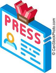 Press Badge Card Icon Vector. Isometric Press Badge Card isometric sign. color isolated symbol illustration