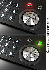 press button and numbers with a red and green led over a black background