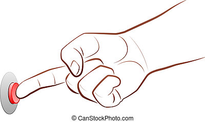 Press Button - Outline illustration of a forefinger that is...