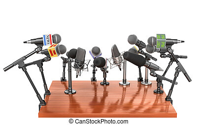 Press concept. Conference meeting microphones with tribune...