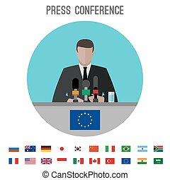 Press conference icon - Press conference vector icon with...