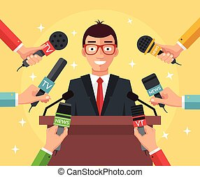 Press conference. Vector flat illustration