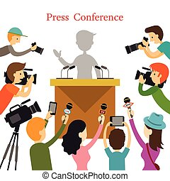 Press Conference, Journalist with Camera, Camcorder and...