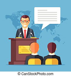 Press conference. Man standing at rostrum with microphones in auditorium with people, world map on background. Flat design graphics. Vector illustration