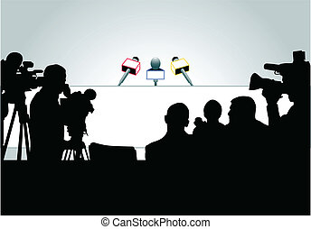 Press conference - Media people ready for press conference (...