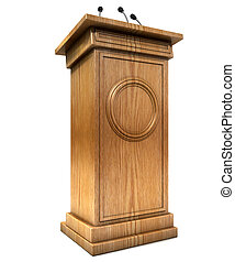 Press Conference Podium - A wooden speech podium with three...