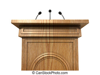Press Conference Podium - A wooden speech podium with three...