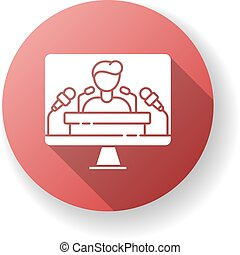 Press conference red flat design long shadow glyph icon