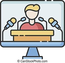 Press conference RGB color icon