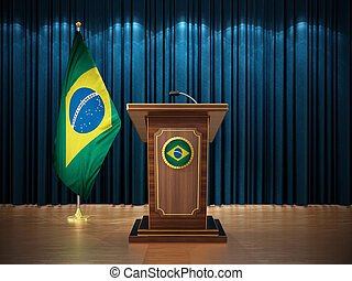 Press conference with Brazil flag and lectern against the blue curtain. 3D illustration