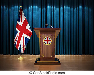 Press conference with British flag and lectern against the blue curtain. 3D illustration