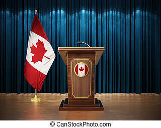Press conference with flags of Canada and lectern against the blue curtain. 3D illustration