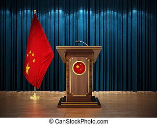 Press conference with flags of China and lectern against the blue curtain. 3D illustration
