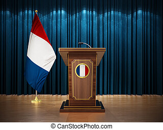Press conference with flags of France and lectern against the blue curtain. 3D illustration
