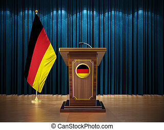 Press conference with flags of Germany and lectern against the blue curtain. 3D illustration