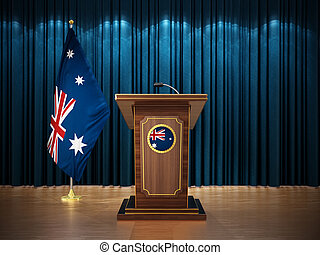 Press conference with flags of New Zealand and lectern against the blue curtain. 3D illustration