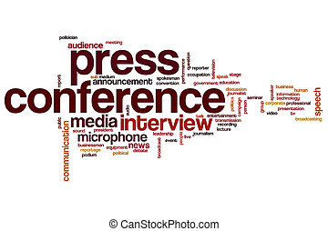 Press conference word cloud concept with interview media...