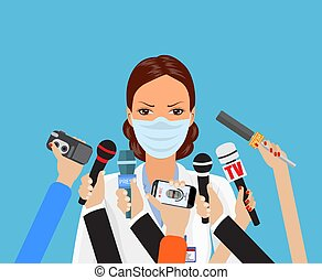 Press conference, world live tv news, interview. doctor with...