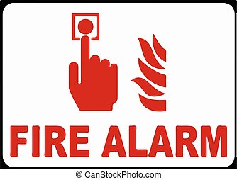 Press For Fire Alarm Sign Vector illustration eps 10