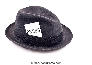 Press hat - An old fedora felt hat with press card