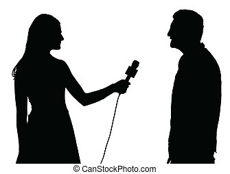 Press Interview Conducted by Woman Interviewer Silhouette