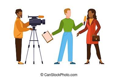 Press interview with cameraman. Journalist interviews woman...