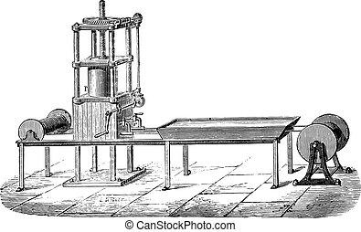 Press machine, vintage engraving.