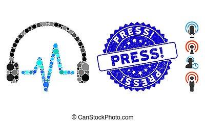 press!, mosaico, escutar, ícone, angústia, selo