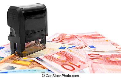 Press on money (euro).