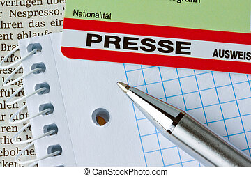 Press pass for journalists at a press conference