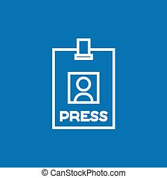 Press pass ID card line icon.