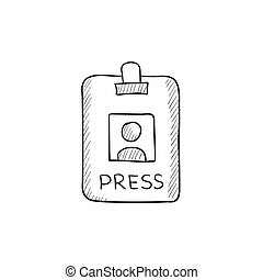 Press pass ID card sketch icon.