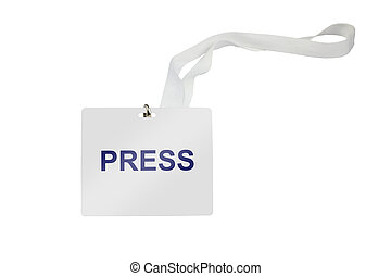 Press Pass - press labeled pass isolated on white background