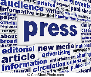 Press poster design. Publication message background