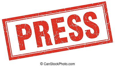 press red grunge square stamp on white