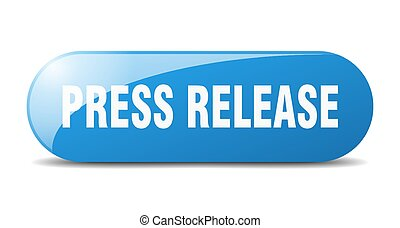 press release button. sticker. banner. rounded glass sign - ...