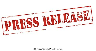 Press release - Rubber stamp with text press release inside,...