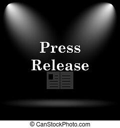 Press release icon. Internet button on black background.
