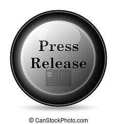 Press release icon. Internet button on white background.