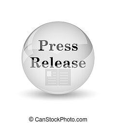 Press release icon. Internet button on white background
