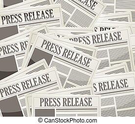 press release newspaper illustration design over a grey ...