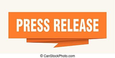 press release sign. press release paper origami speech bubble. press release tag. press release banner