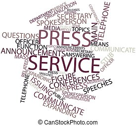Press service - Abstract word cloud for Press service with...