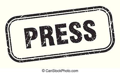 press stamp. press square grunge sign. press