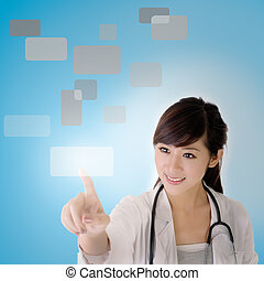 press, touchscreen, ung läkare