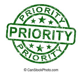 pressa, serviço, selo, mostrando, prioridade, urgente