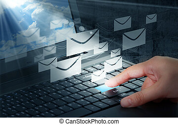 presse, e-mail, bouton, main