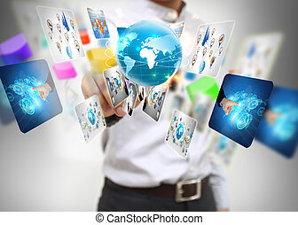 presse, homme affaires, world., business