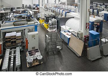 presse, maskine, trykning, -, offset